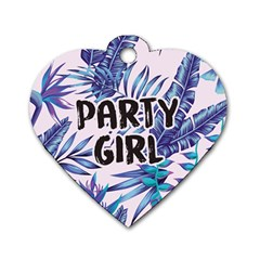 Palm Leaves Party Girl Dog Tag Heart (one Sided)  by pushu