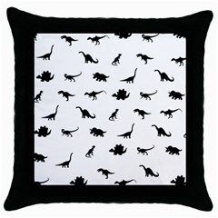 Dinosaurs Pattern Throw Pillow Case (black) by Valentinaart