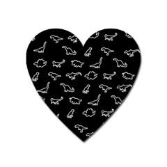 Dinosaurs pattern Heart Magnet by Valentinaart