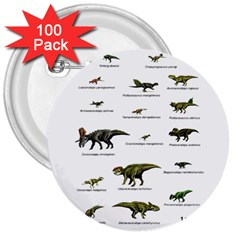Dinosaurs Names 3  Buttons (100 Pack)  by Valentinaart