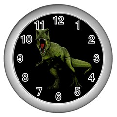 Dinosaurs T Rex Wall Clocks (silver)  by Valentinaart