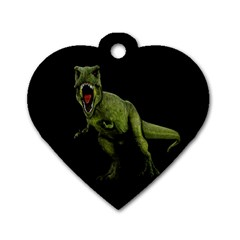 Dinosaurs T Rex Dog Tag Heart (one Side) by Valentinaart