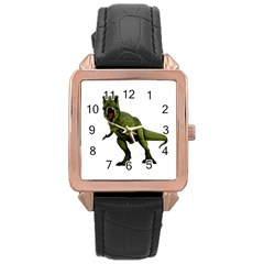 Dinosaurs T Rex Rose Gold Leather Watch  by Valentinaart
