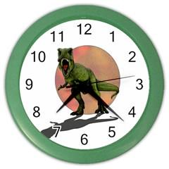 Dinosaurs T Rex Color Wall Clocks by Valentinaart