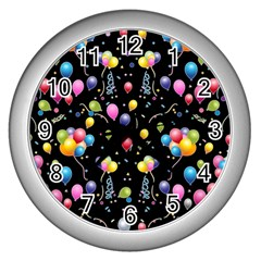 Balloons   Wall Clocks (silver)  by Valentinaart