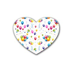 Balloons   Rubber Coaster (heart)  by Valentinaart