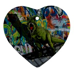 Urban T Rex Ornament (heart) by Valentinaart