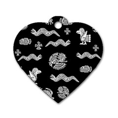 Aztecs Pattern Dog Tag Heart (one Side) by Valentinaart