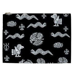 Aztecs Pattern Cosmetic Bag (xxl)  by Valentinaart