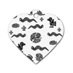Aztecs Pattern Dog Tag Heart (two Sides) by Valentinaart