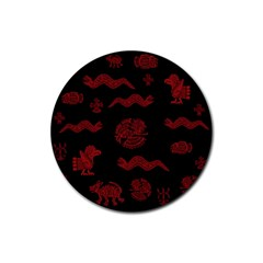 Aztecs Pattern Rubber Coaster (round)  by Valentinaart