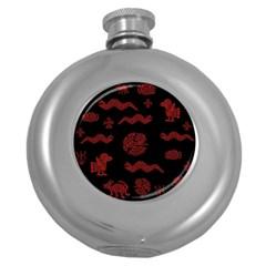 Aztecs Pattern Round Hip Flask (5 Oz) by Valentinaart