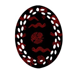 Aztecs Pattern Oval Filigree Ornament (two Sides) by Valentinaart