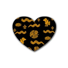 Aztecs Pattern Rubber Coaster (heart)  by Valentinaart