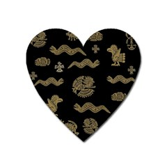 Aztecs Pattern Heart Magnet by Valentinaart