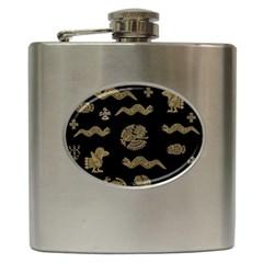 Aztecs Pattern Hip Flask (6 Oz) by Valentinaart