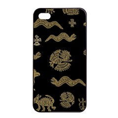 Aztecs Pattern Apple Iphone 4/4s Seamless Case (black) by Valentinaart