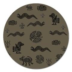 Aztecs Pattern Magnet 5  (round) by Valentinaart