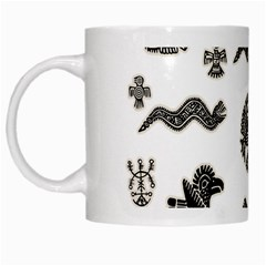 Aztecs Pattern White Mugs by Valentinaart