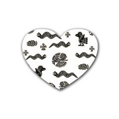 Aztecs Pattern Heart Coaster (4 Pack)  by Valentinaart