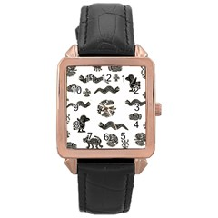 Aztecs Pattern Rose Gold Leather Watch  by Valentinaart