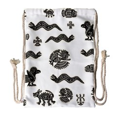 Aztecs Pattern Drawstring Bag (large) by Valentinaart