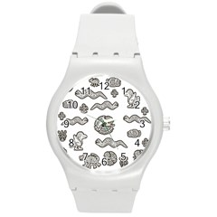 Aztecs Pattern Round Plastic Sport Watch (m) by Valentinaart
