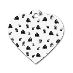 Chimpanzee Dog Tag Heart (one Side) by Valentinaart