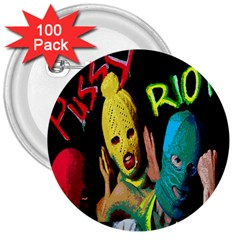 Pussy Riot 3  Buttons (100 Pack)  by Valentinaart