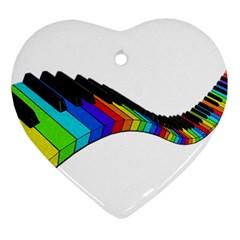 Rainbow Piano  Ornament (heart) by Valentinaart