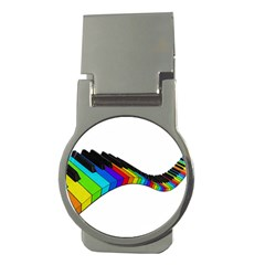 Rainbow Piano  Money Clips (round)  by Valentinaart