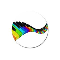 Rainbow Piano  Magnet 3  (round) by Valentinaart
