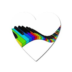 Rainbow Piano  Heart Magnet by Valentinaart