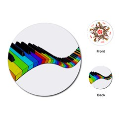 Rainbow Piano  Playing Cards (round)  by Valentinaart