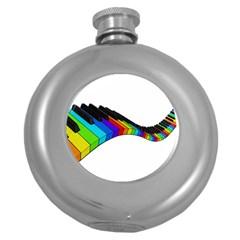 Rainbow Piano  Round Hip Flask (5 Oz) by Valentinaart