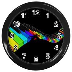 Rainbow Piano  Wall Clocks (black) by Valentinaart
