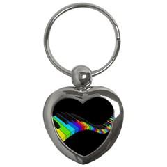 Rainbow Piano  Key Chains (heart)  by Valentinaart