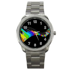 Rainbow Piano  Sport Metal Watch by Valentinaart