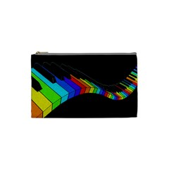 Rainbow Piano  Cosmetic Bag (small)  by Valentinaart