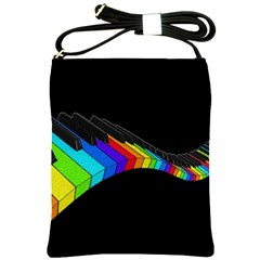 Rainbow Piano  Shoulder Sling Bags by Valentinaart