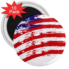 American Flag 3  Magnets (10 Pack)  by Valentinaart