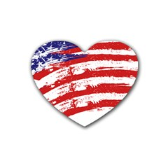 American Flag Rubber Coaster (heart)  by Valentinaart