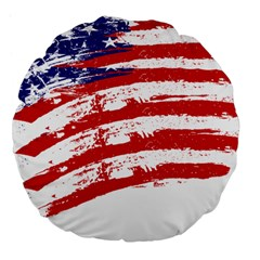 American Flag Large 18  Premium Flano Round Cushions by Valentinaart