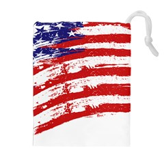 American Flag Drawstring Pouches (extra Large) by Valentinaart