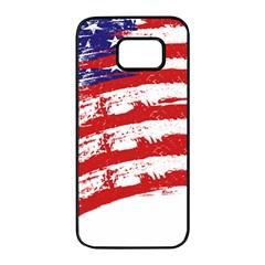 American Flag Samsung Galaxy S7 Edge Black Seamless Case by Valentinaart