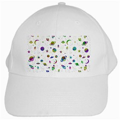Space Pattern White Cap by ValentinaDesign
