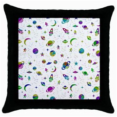 Space Pattern Throw Pillow Case (black) by ValentinaDesign