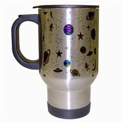 Space Pattern Travel Mug (silver Gray) by ValentinaDesign