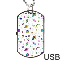 Space Pattern Dog Tag Usb Flash (one Side) by ValentinaDesign