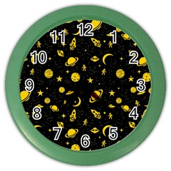 Space Pattern Color Wall Clocks by ValentinaDesign